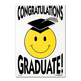 Graduation Smiley Face Lawn Sign