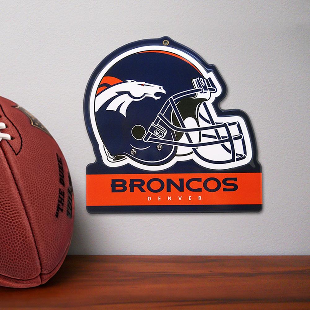 Denver Broncos Metal Helmet Sign