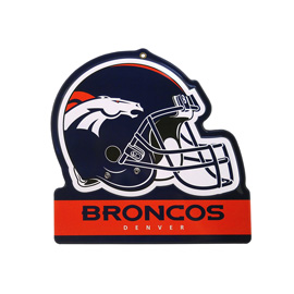 Denver Broncos Metal Helmet Sign