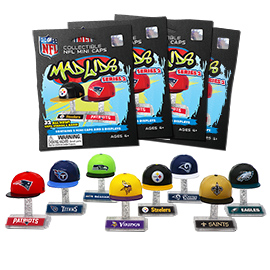 4 Blind Packs, Mad Lids NFL Series 2