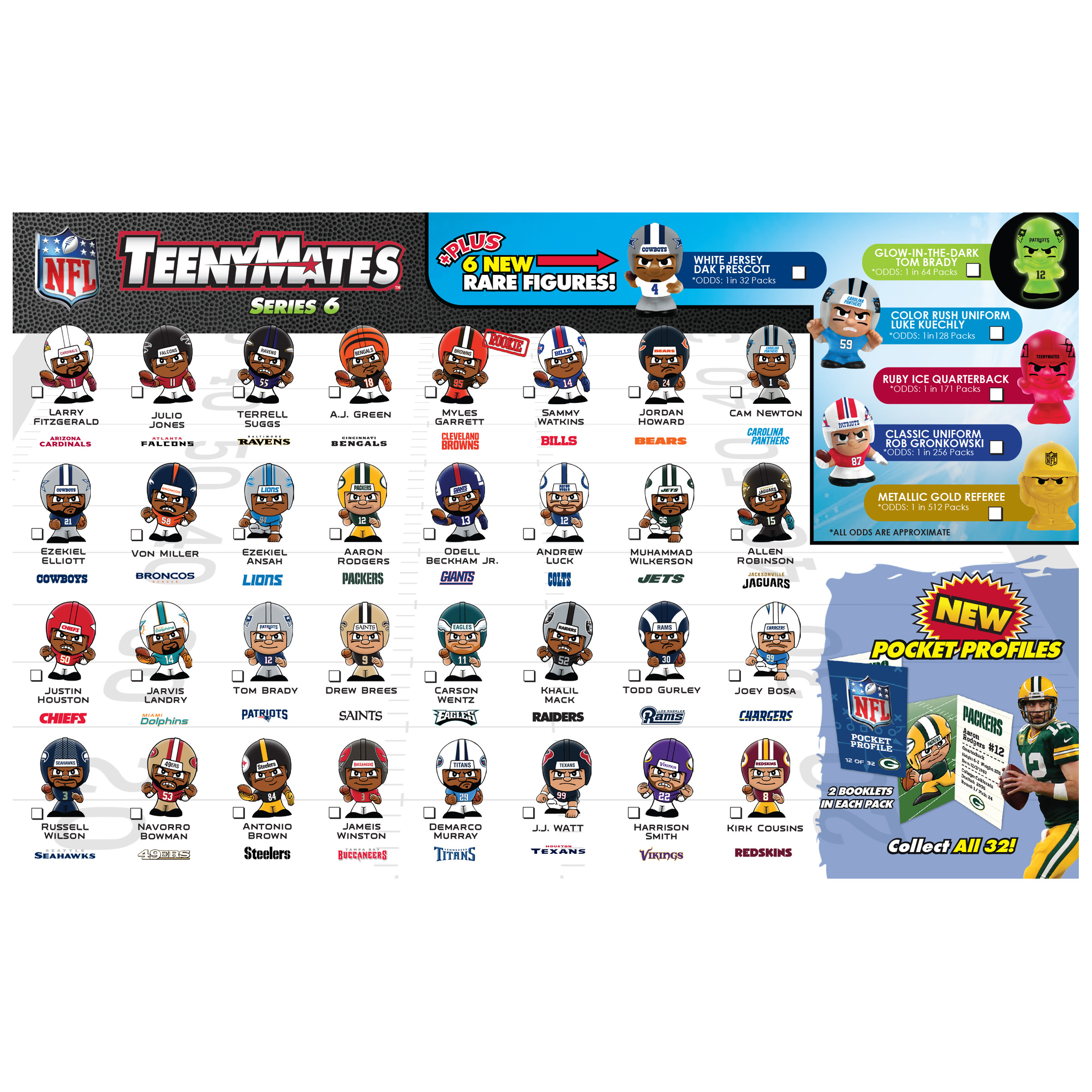 4 blind packs teenymates nfl series 6. Black Bedroom Furniture Sets. Home Design Ideas