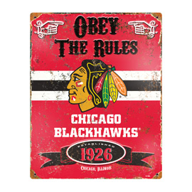 Chicago Blackhawks Embossed Metal Sign
