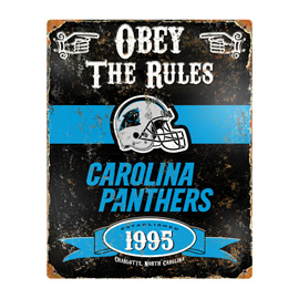 Carolina Panthers Embossed Metal Sign