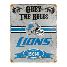 Detroit Lions Embossed Metal Sign