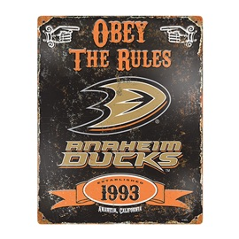 Anaheim Ducks Embossed Metal Sign