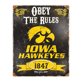 Iowa Hawkeyes Embossed Metal Sign