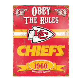 Kansas City Chiefs Embossed Metal Sign