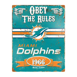 Miami Dolphins Embossed Metal Sign