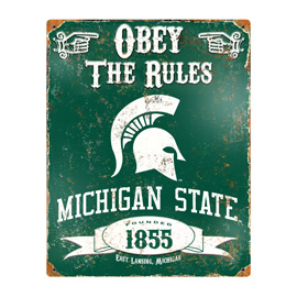 Michigan State Spartans Embossed Metal Sign