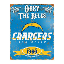 San Diego Chargers Embossed Metal Sign