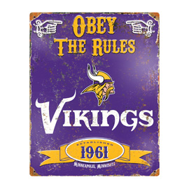 Minnesota Vikings Embossed Metal Sign